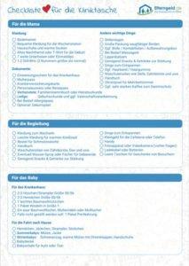 Checkliste für die Kliniktasche downloaden