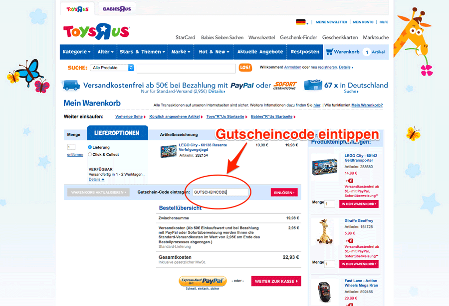 ToysRUs Gutschein-Code einlösen